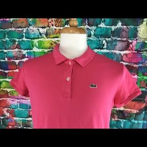 Women's Lacoste Polo Shirt Pink Size 46
